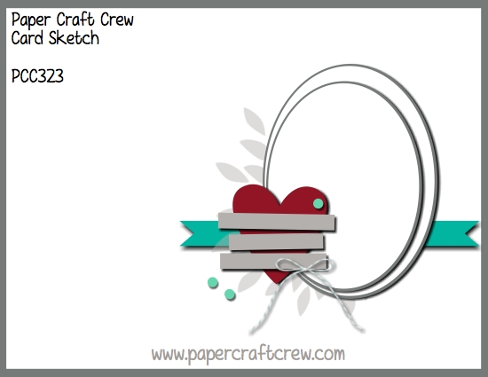 Paper Craft Crew Vertical Sketch Challenge with Overlapping Ovals and heart.